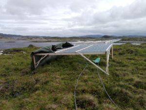 Vinden var et problem når vi skulle høste biomasse, så vi løste prøblemet med presenning og tau.